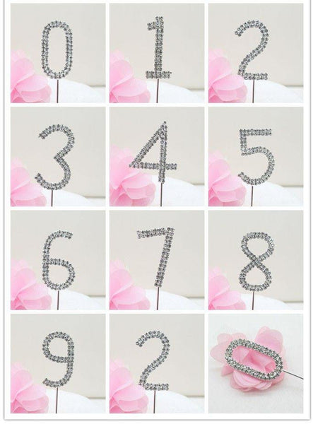 Crystal Rhinestone Number /FAUX Diamond Cake Topper Accessory (Six 6)