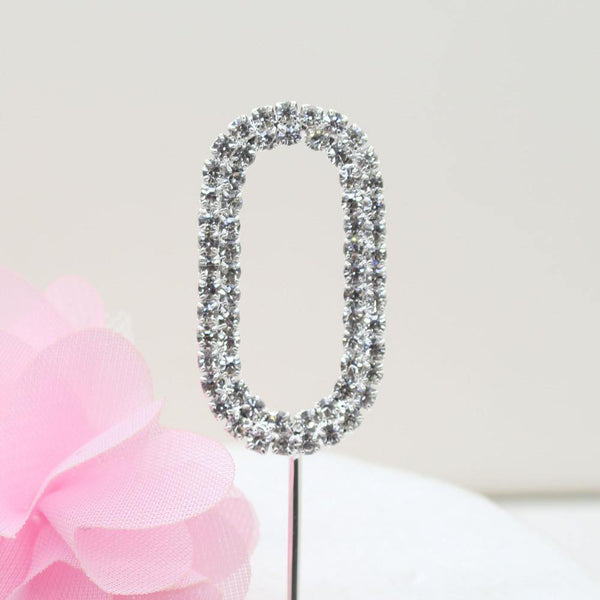 Crystal Rhinestone Number /FAUX Diamond Cake Topper Accessory (Zero 0)