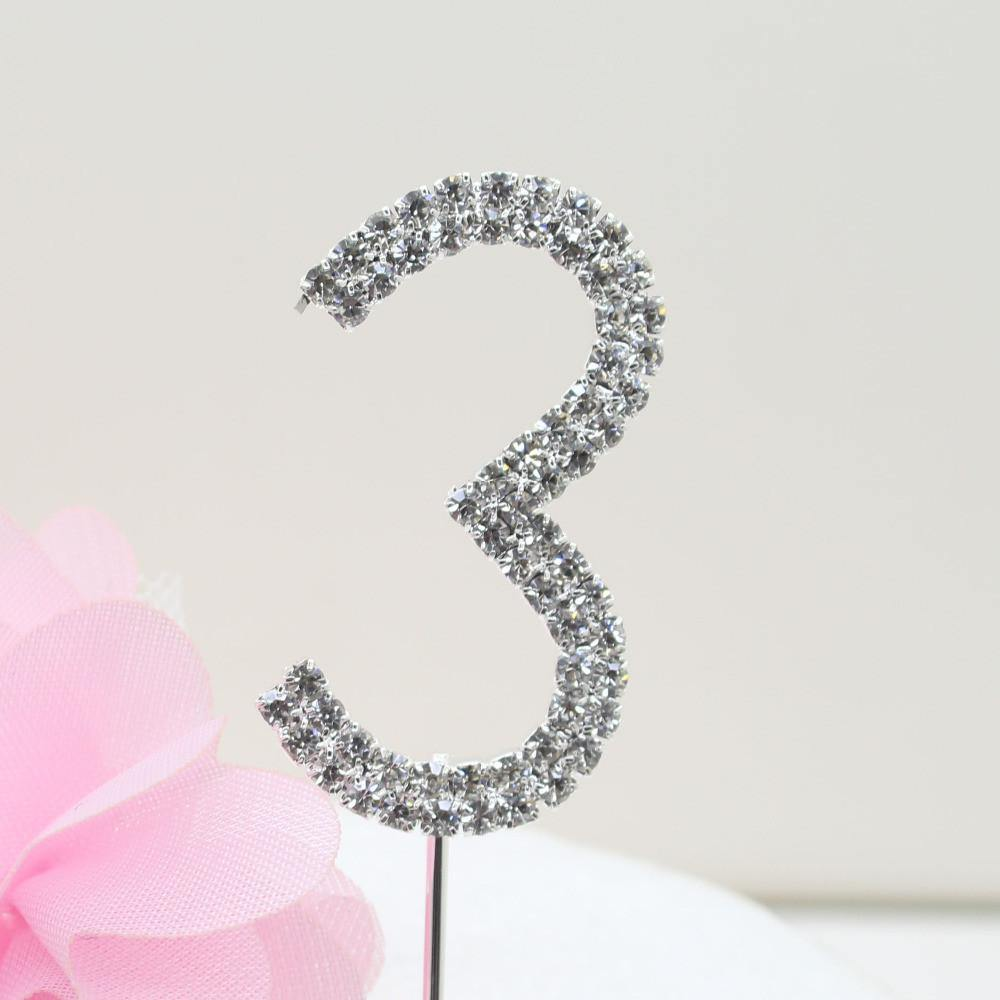 Crystal Rhinestone Number /FAUX Diamond Cake Topper Accessory (Three 3) - CHARMERRY