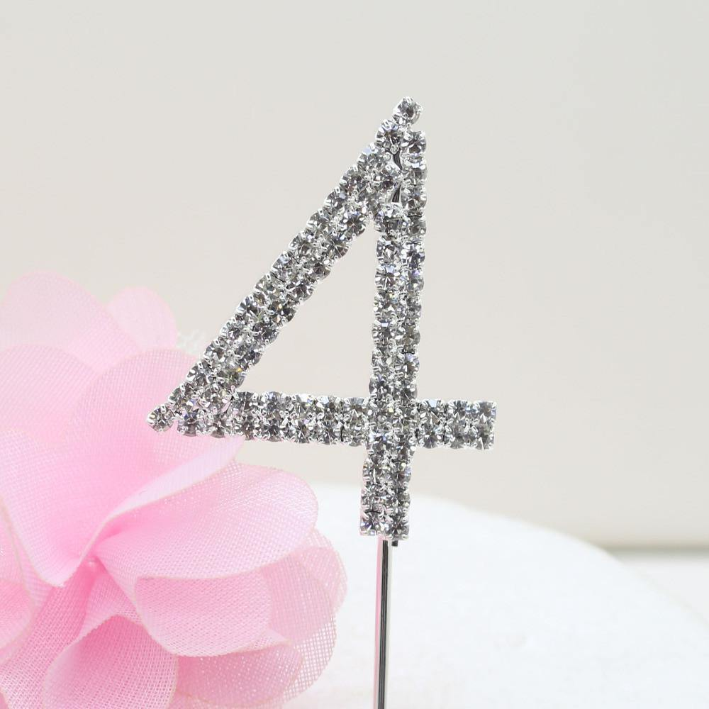 Crystal Rhinestone Number /FAUX Diamond Cake Topper Accessory (Four 4)