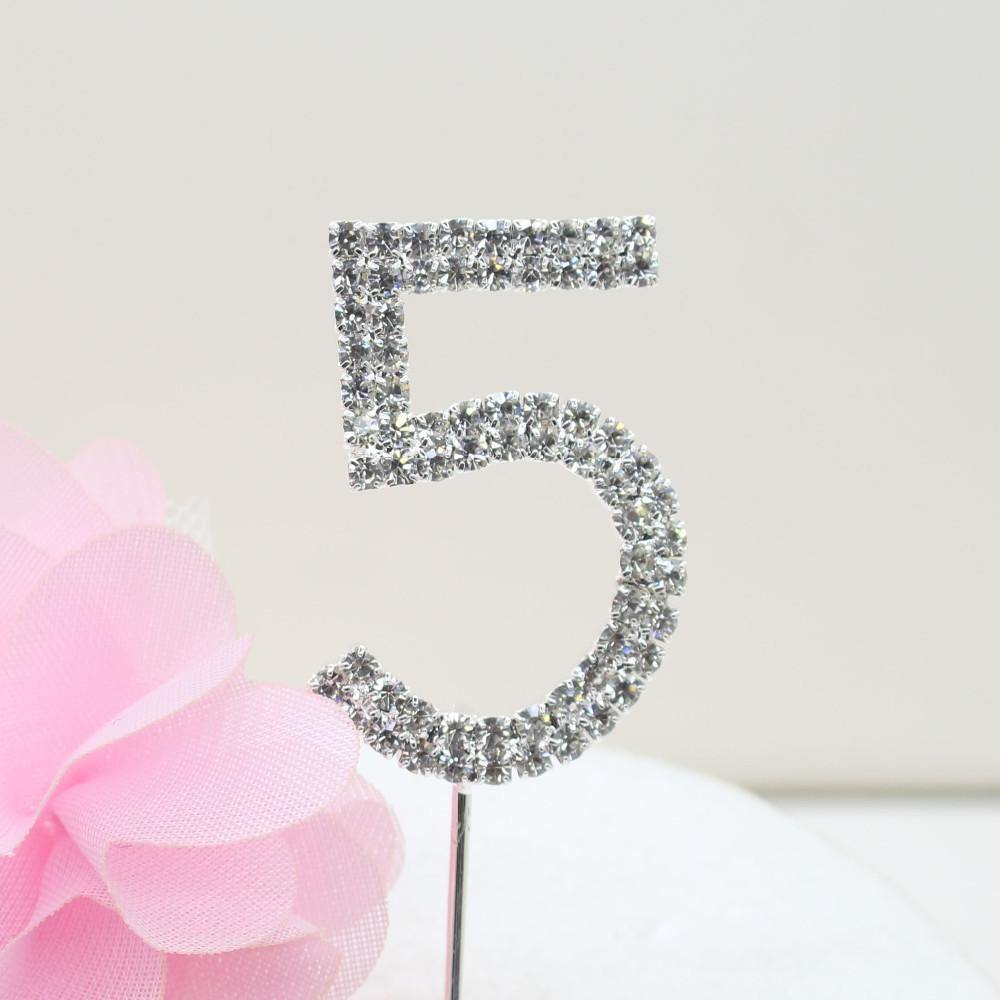 Crystal Rhinestone Number /FAUX Diamond Cake Topper Accessory (Five 5)