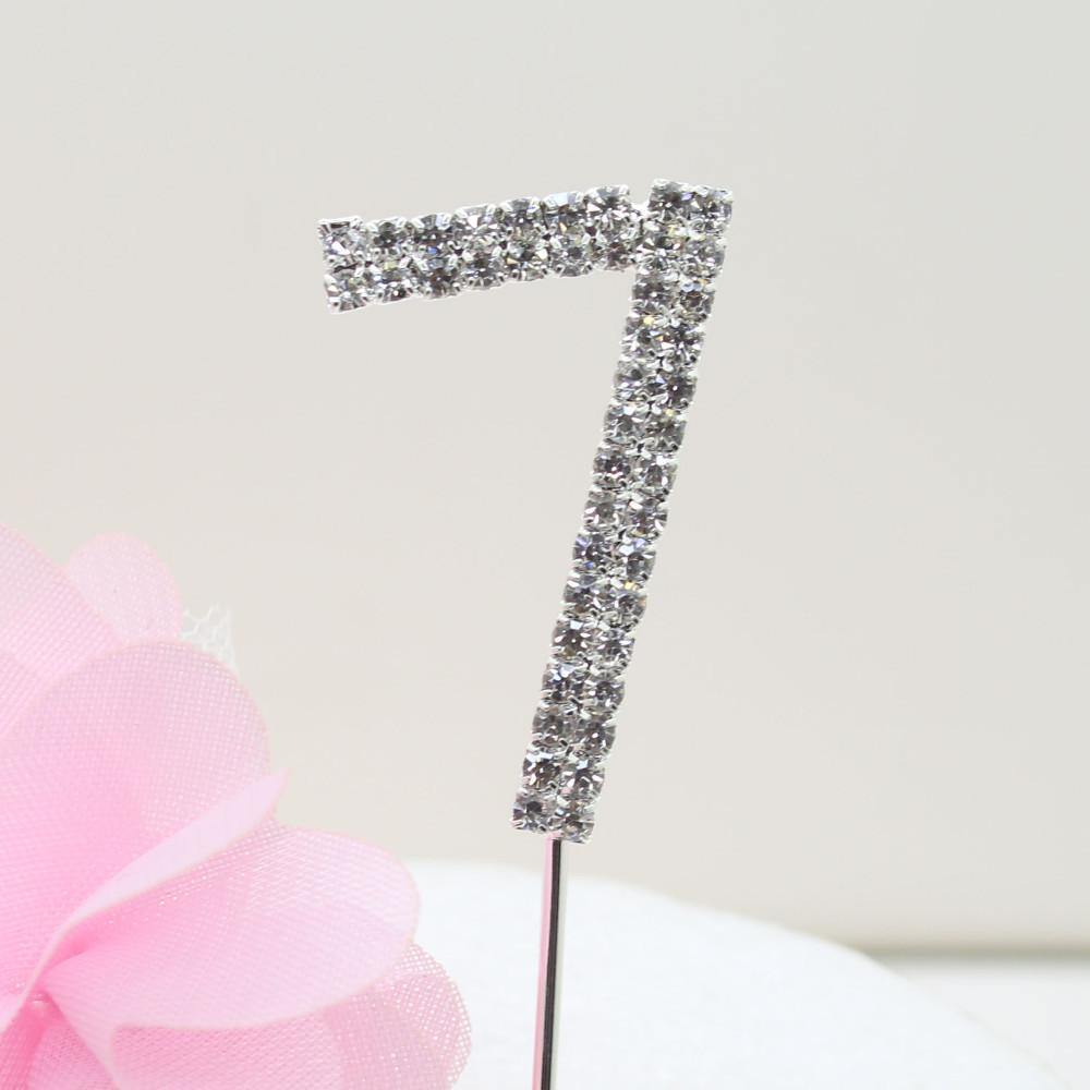 Crystal Rhinestone Number /FAUX Diamond Cake Topper Accessory (Seven 7) - CHARMERRY
