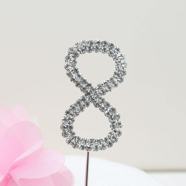 Crystal Rhinestone Number /FAUX Diamond Cake Topper Accessory (Eight 8)