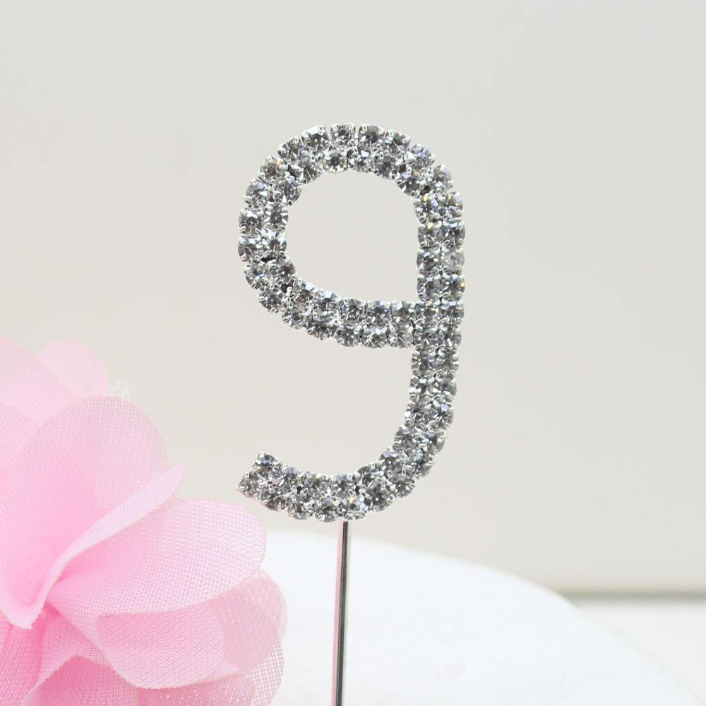 Crystal Rhinestone Number /FAUX Diamond Cake Topper Accessory (Nine 9) - CHARMERRY