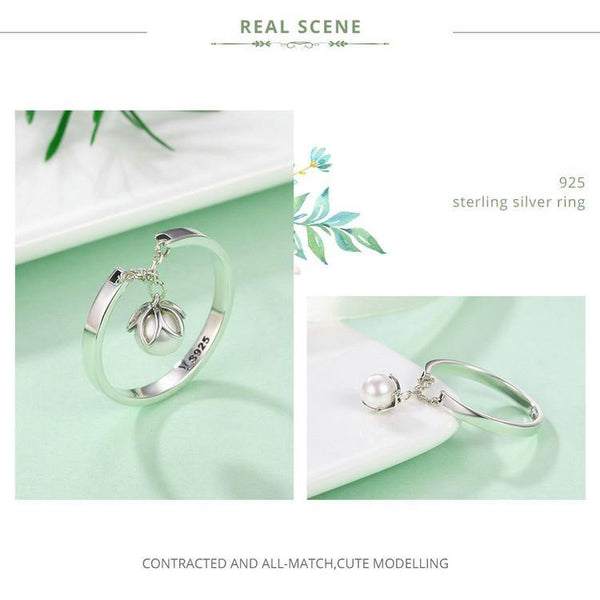 Tear of Flower Dangle Open Rings - 925 Sterling Silver