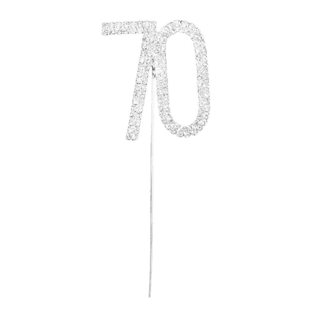 70 Number Crystal Rhinestone /70th Anniversary Cake Topper (FAUX Diamond Diamante) - CHARMERRY