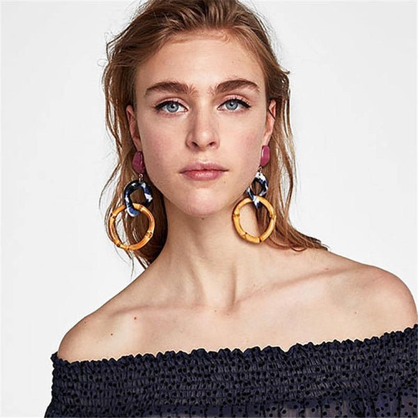 Fancy Bamboo Drop Earring