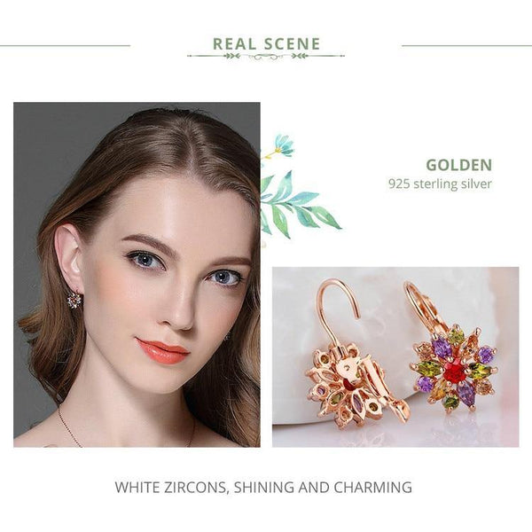 Gold Color Flower Stud Earrings with Zircon Stone