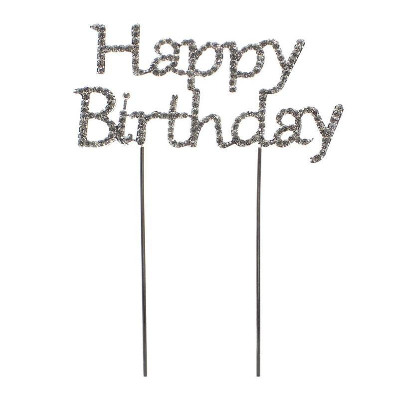 Happy Birthday Cake Topper (Silver Diamante Diamond Crystal Rhinestone)