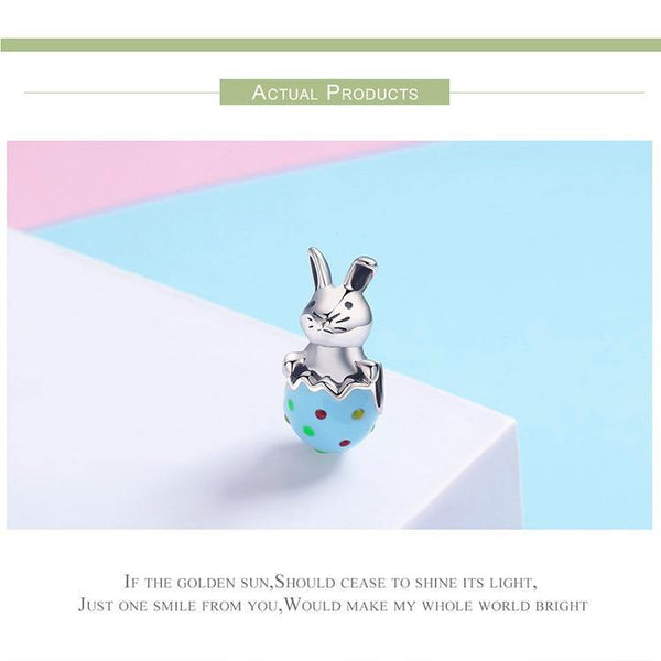 Easter Bunny Colorful Enamel Rabbit Beads for DIY Bracelet - 925 Sterling Silver