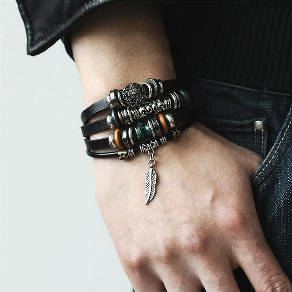 Leather Bracelets | Street Style Southwest Boho Rocker Retro Vintage Outfit Additions & Accessories Charmerry a01