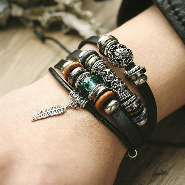 Leather Bracelets | Street Style Southwest Boho Rocker Retro Vintage Outfit Additions & Accessories Charmerry a02