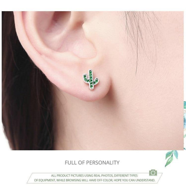 Dazzling Green Cactus Crystal Stud Earrings - 925 Sterling Silver