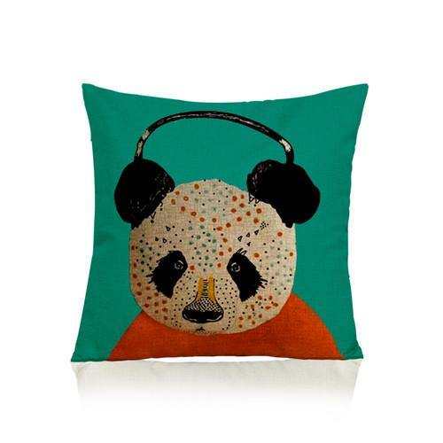 Panda Pillow Case (Accent Cushion Covers /Decorative Throw Pillowcases)[Headphones /Turquoise]