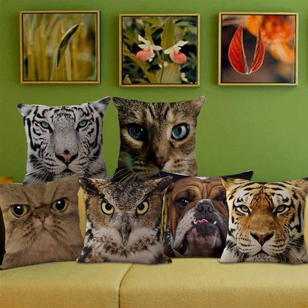 Cat Pillow Case (Pet Throw Pillowcase /3D Animal Accent Cushion Cover)