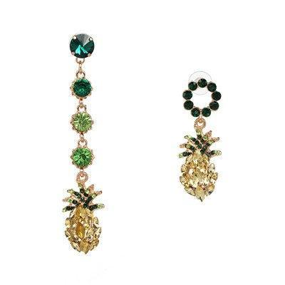 Asymmetrical Shiny Pineapple Zirconia Linear Earrings