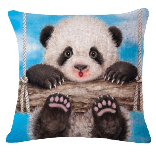 Panda Throw Pillow Cases(Decorative Cushion Covers /Accent Pillowcases)[Panda Swinging]