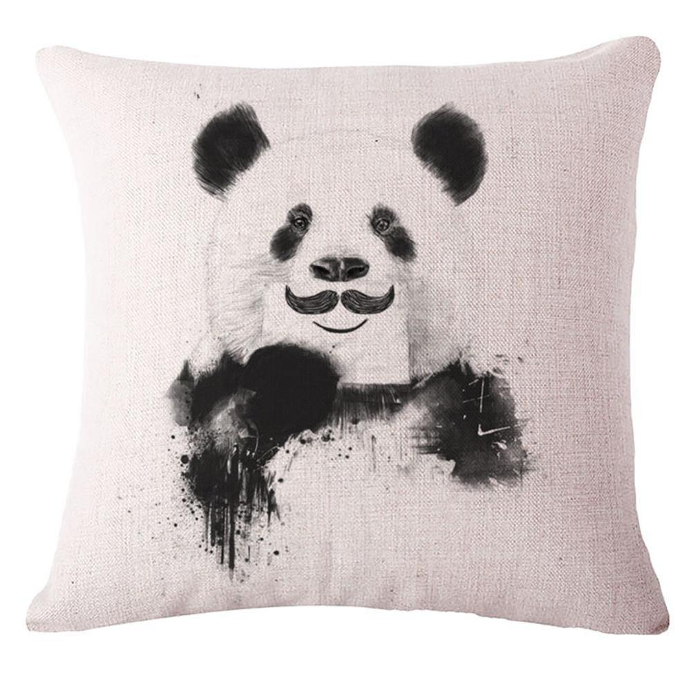 Panda Throw Pillow Cases(Decorative Cushion Covers /Accent Pillowcases)[Handlebar Mustache]