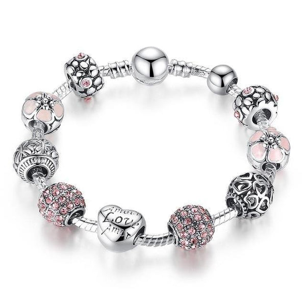 Love and Flower Charm Bracelet - Antique Silver Charm