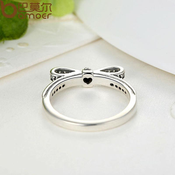 Zircon Bow Knot Sparkling Ring - 925 Sterling Silver