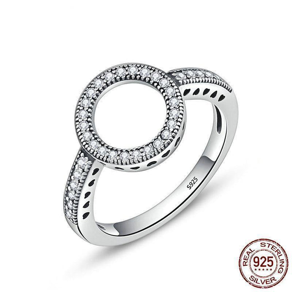 Halo Circle Zircon Rings - 925 Sterling Silver