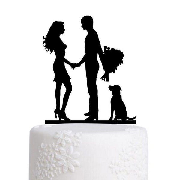 Engagement Wedding Cake Topper (Family /Dog Pet Puppy /Romantic Couple)