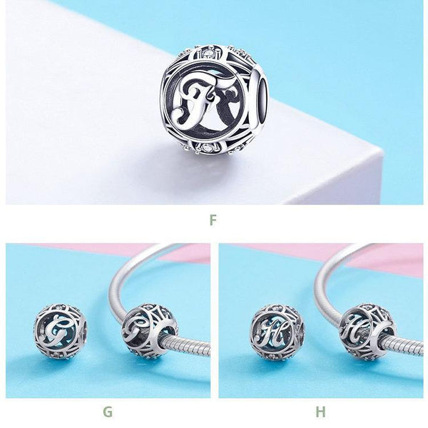 Clear Zircon Alphabet Letter Silver Charms - 925 Sterling Silver