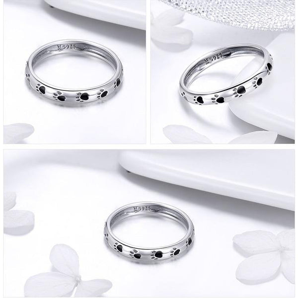 Animal Paw | Dog Cat Footprints Designed Rings - 925 Sterling Silver
