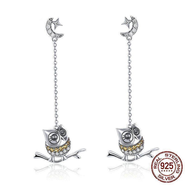 Cute Owl Long Chain Drop Earrings - 925 Sterling Silver