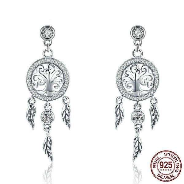 Dream Catcher Drop Earrings - 925 Sterling Silver