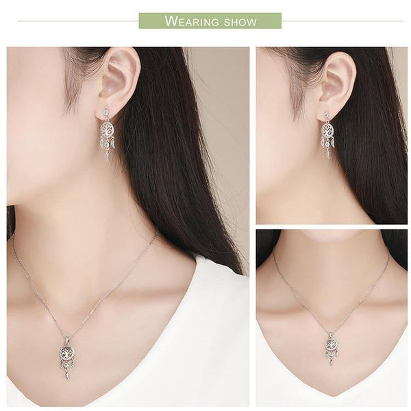 Dream Catcher Necklace & Earring Jewelry Set - 925 Sterling Silver