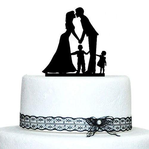 Engagement Wedding Cake Topper (Family Children Son Daughter Boy Girl)[Bride, Groom & 2 Kids] - CHARMERRY