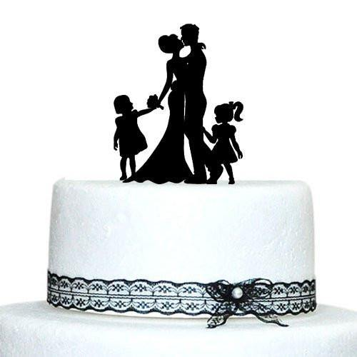 Engagement Wedding Cake Topper (Family /Little Girls Daughter Children)[Bride, Groom & 2 Daughters]