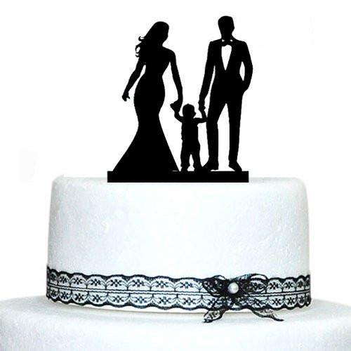 Bride And Groom Silhouette Wedding Cake Topper Holding Hands Kids