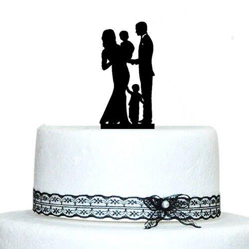 Engagement & Wedding Cake Topper(Family /Children /Son /Daughter /Baby)[Bride, Groom & 2 Kids]