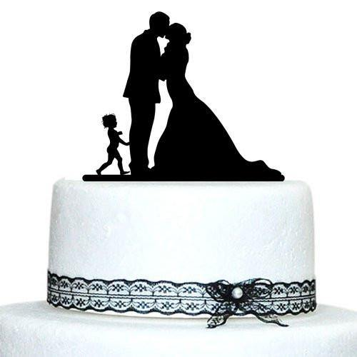 Engagement Wedding Cake Topper(Little Baby Child Boy Girl Son Daughter)[Bride, Groom & 1 Kid]