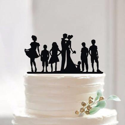 Engagement Wedding Cake Topper (Family Members/Children /Son /Daughter)[Bride, Groom & 6 Kids]