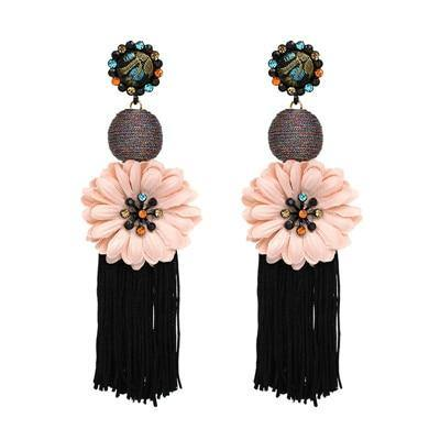 Large Floral Tassel Drop Earring