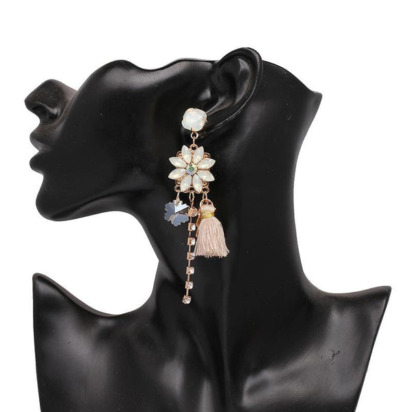 Floral Drop Earrings with Cute Tassel & Zircon