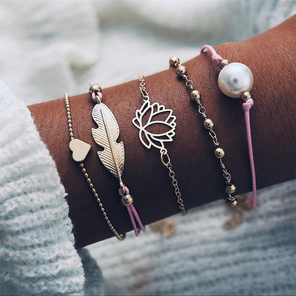 Charm Bracelet Set - Mix & Match Street Style Urban Boho Pink Chic | Women's Outfit Additions, Jewelry & Accessories Charmerry a36