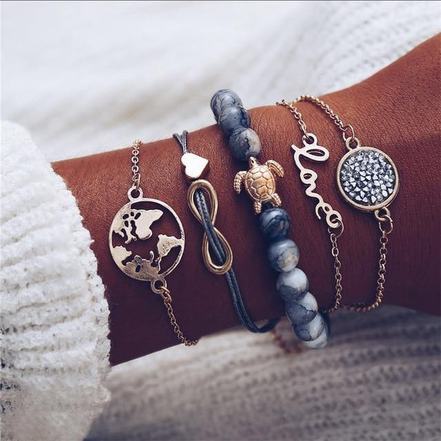 Charm Bracelet Set - Mix & Match Street Style Urban Boho Pink Chic | Women's Outfit Additions, Jewelry & Accessories Charmerry a9