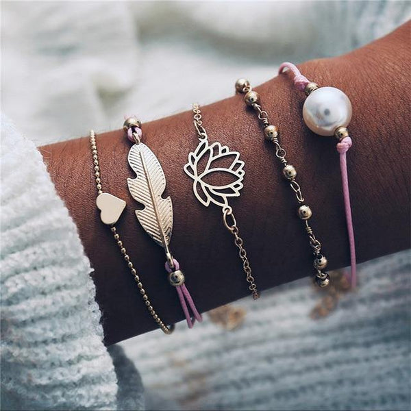Charm Bracelet Set - Mix & Match Street Style Urban Boho Pink Chic | Women's Outfit Additions, Jewelry & Accessories Charmerry a13