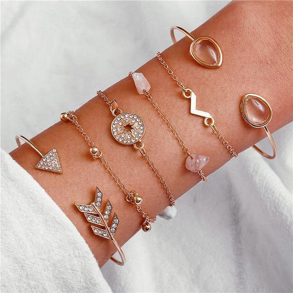 Charm Bracelet Set - Mix & Match Street Style Urban Boho Pink Chic | Women's Outfit Additions, Jewelry & Accessories Charmerry a17