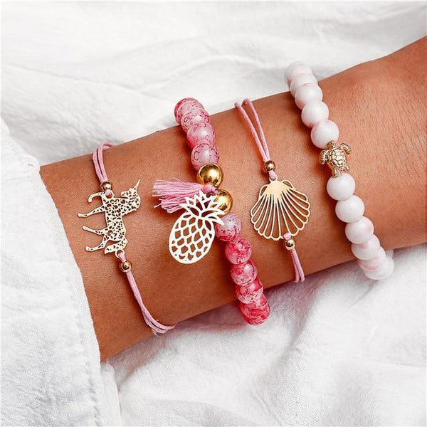 Charm Bracelet Set - Mix & Match Street Style Urban Boho Pink Chic | Women's Outfit Additions, Jewelry & Accessories Charmerry a10