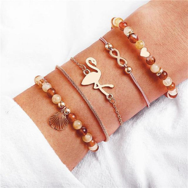 Charm Bracelet Set - Mix & Match Street Style Urban Boho Pink Chic | Women's Outfit Additions, Jewelry & Accessories Charmerry a31