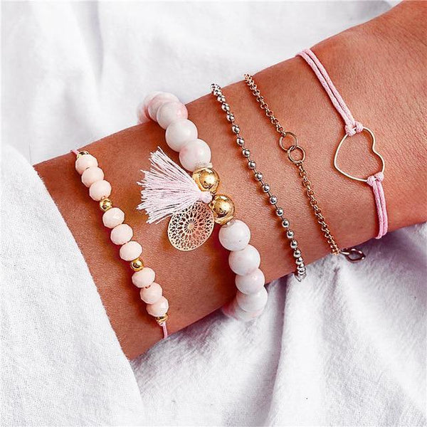 Charm Bracelet Set - Mix & Match Street Style Urban Boho Pink Chic | Women's Outfit Additions, Jewelry & Accessories Charmerry a26