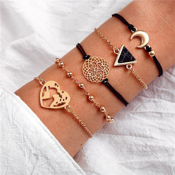 Charm Bracelet Set - Mix & Match Street Style Urban Boho Pink Chic | Women's Outfit Additions, Jewelry & Accessories Charmerry a29