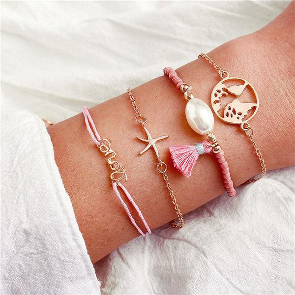 Charm Bracelet Set - Mix & Match Street Style Urban Boho Pink Chic | Women's Outfit Additions, Jewelry & Accessories Charmerry a19