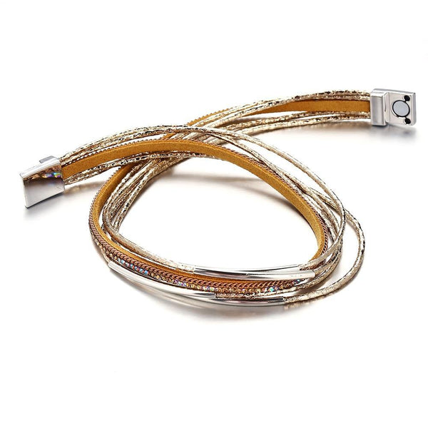 Leather Wrap Bracelets - Gold Silver Black | Women's Outfit Additions, Jewelry & Accessories Charmerry a05