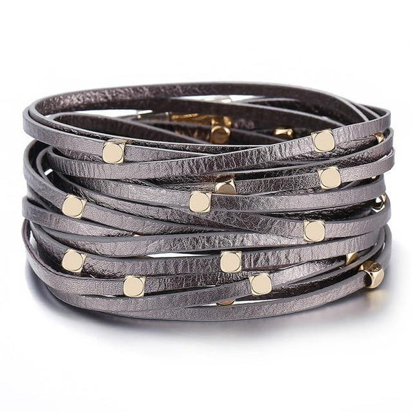 Leather Wrap Bracelets - Gold Silver Black | Women's Outfit Additions, Jewelry & Accessories Charmerry a01